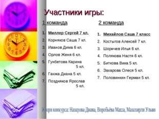 Участники игры: 1 команда 2 команда Михайлов Саша 7 класс Костыгов Алексей 7