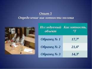 Опыт 5 Определение кислотности молока Исследуемый объектКислотность, 0Т Обра