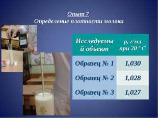 Опыт 7 Определение плотности молока Исследуемый объектρ, г/мл при 20 0 С Обр