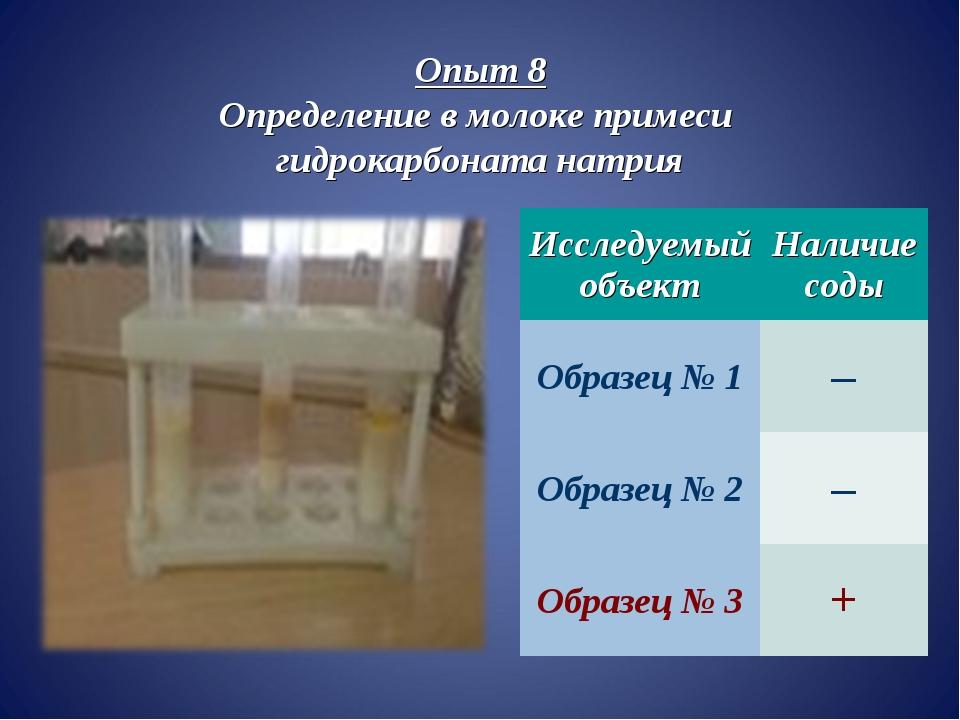 Опыт 8 Определение в молоке примеси гидрокарбоната натрия Исследуемый объект...