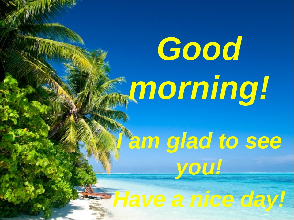 Good morning! I am glad to see you! Have a nice day!