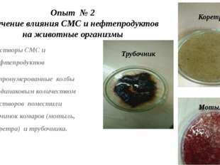 Опыт № 2 Изучение влияния СМС и нефтепродуктов на животные организмы Растворы