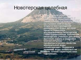 Новотерская целебная Акционерное общество «КАВМИНВОДЫ» создано в 1995 году. В