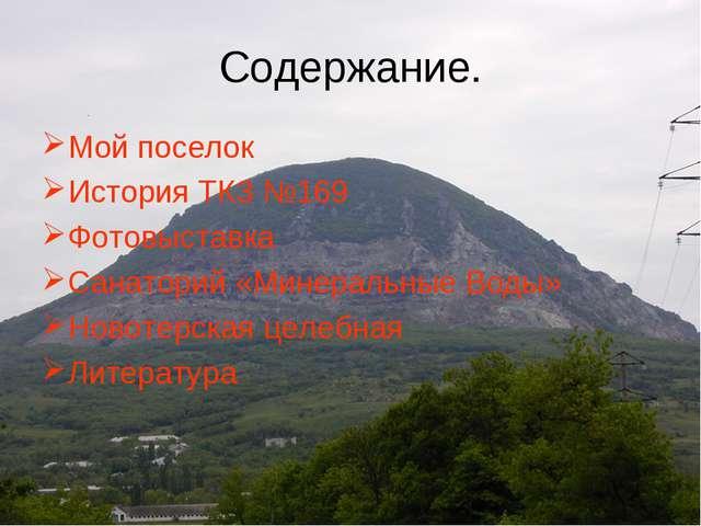 Содержание. Мой поселок История ТКЗ №169 Фотовыставка Санаторий «Минеральные...