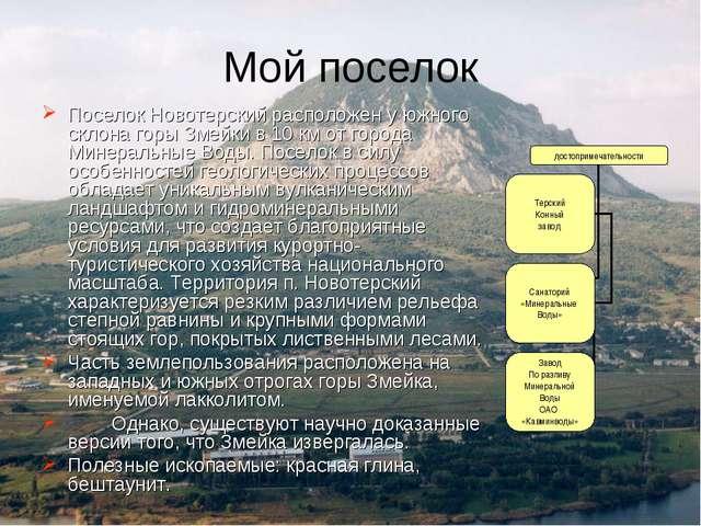 Мой поселок Поселок Новотерский расположен у южного склона горы Змейки в 10 к...