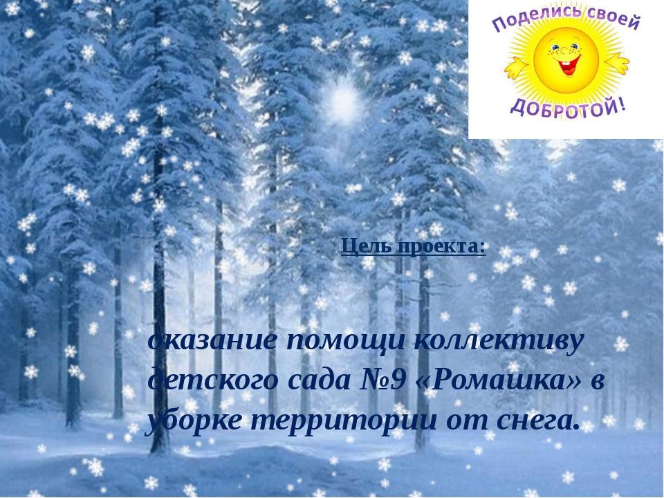 оказание помощи коллективу детского сада №9 «Ромашка» в уборке территории от...