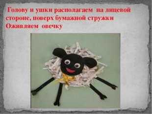 Голову и ушки располагаем на лицевой стороне, поверх бумажной стружки Оживля