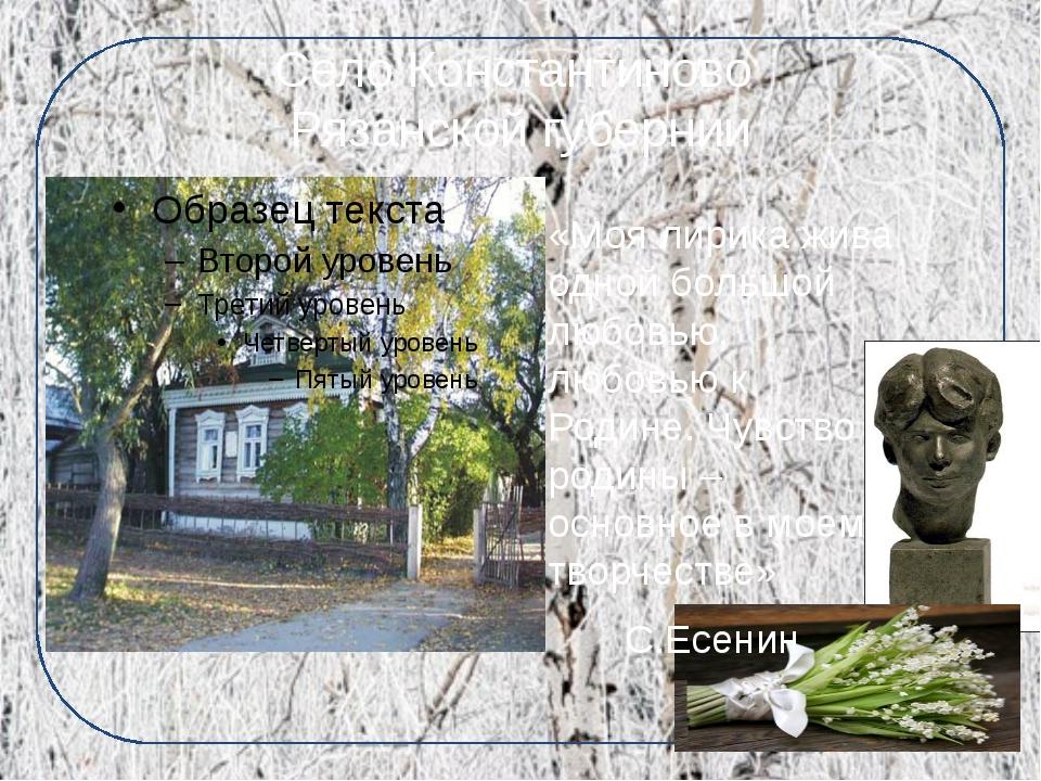 Село Константиново Рязанской губернии «Моя лирика жива одной большой любовью,...