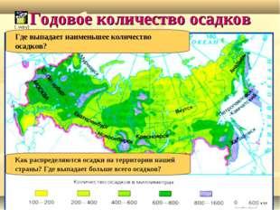 Годовое количество осадков Как распределяются осадки на территории нашей стра