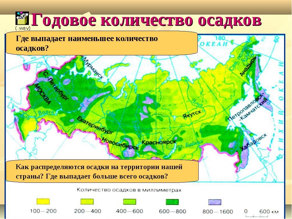 Годовое количество осадков Как распределяются осадки на территории нашей стра...