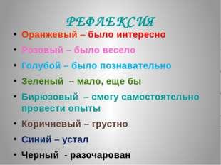 РЕФЛЕКСИЯ Оранжевый – было интересно Розовый – было весело Голубой – было поз