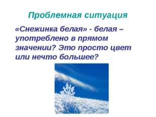 Проблемная ситуация «Снежинка белая» - белая – употреблено в прямом значении?