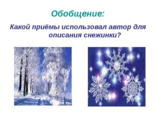 Обобщение: Какой приёмы использовал автор для описания снежинки?