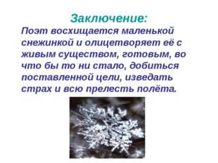 Заключение: Поэт восхищается маленькой снежинкой и олицетворяет её с живым су