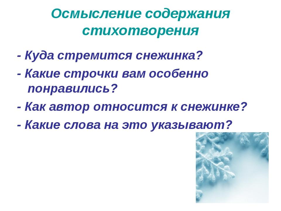 Осмысление содержания стихотворения -Куда стремится снежинка? - Какие строчк...