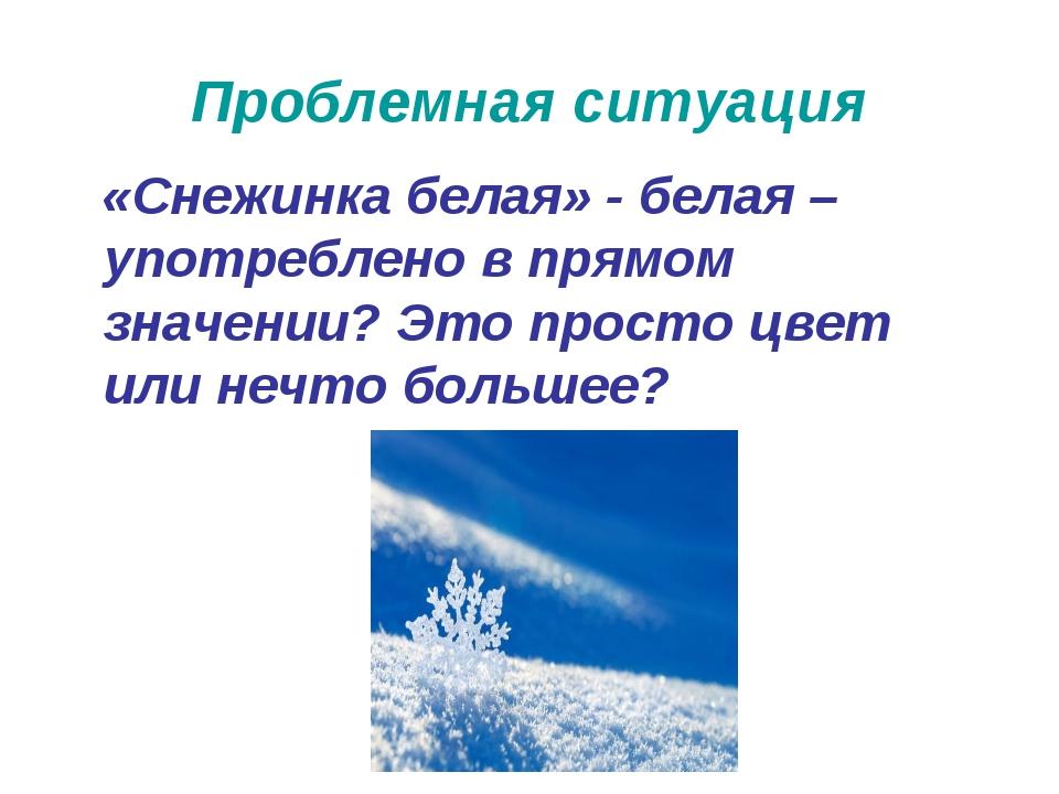 Проблемная ситуация «Снежинка белая» - белая – употреблено в прямом значении?...