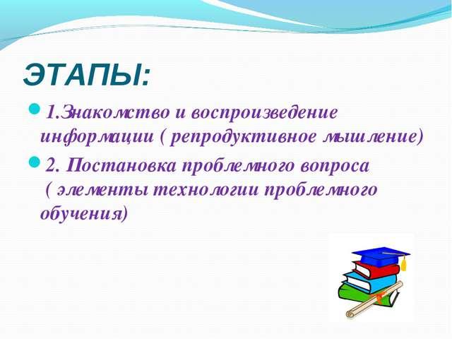ЭТАПЫ: 1.Знакомство и воспроизведение информации ( репродуктивное мышление) 2...