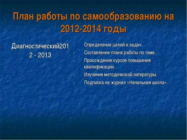 План работы по самообразованию на 2012-2014 годы