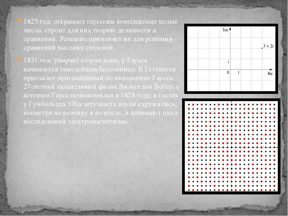 1825 год: открываетгауссовы комплексные целые числа, строит для них теорию д...