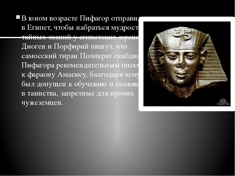 В юном возрасте Пифагор отправился вЕгипет, чтобы набраться мудрости и тайны...