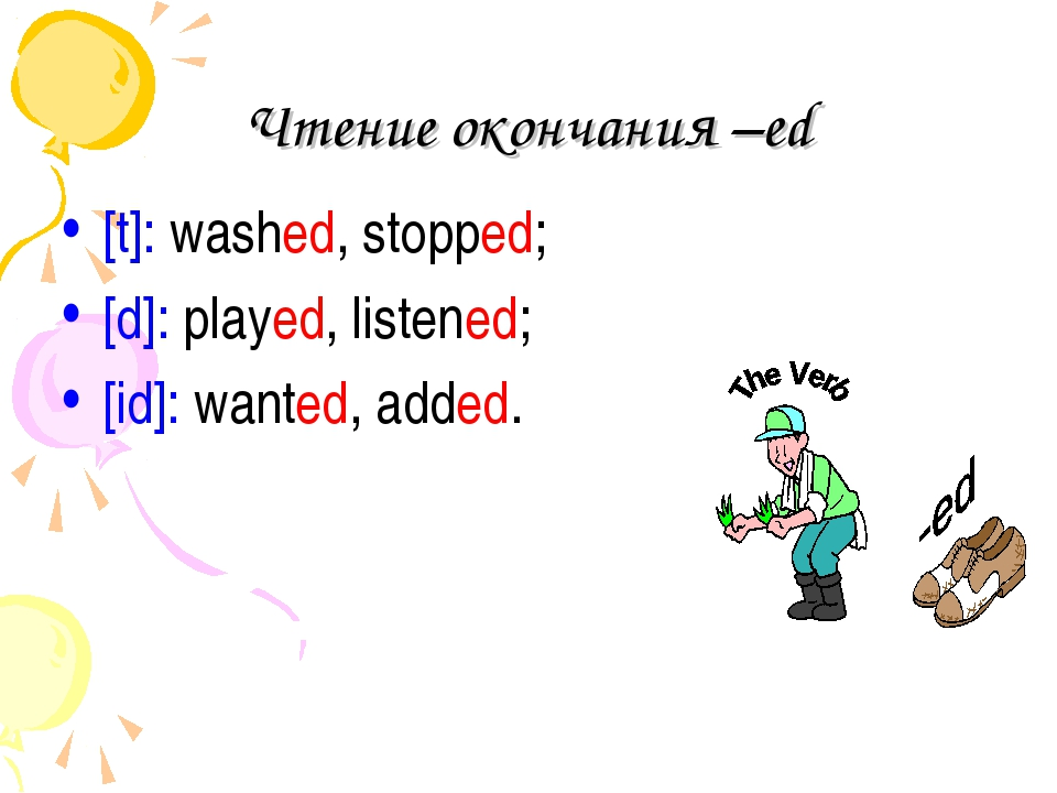 Чтение окончания –ed [t]: washed, stopped; [d]: played, listened; [id]: wante...