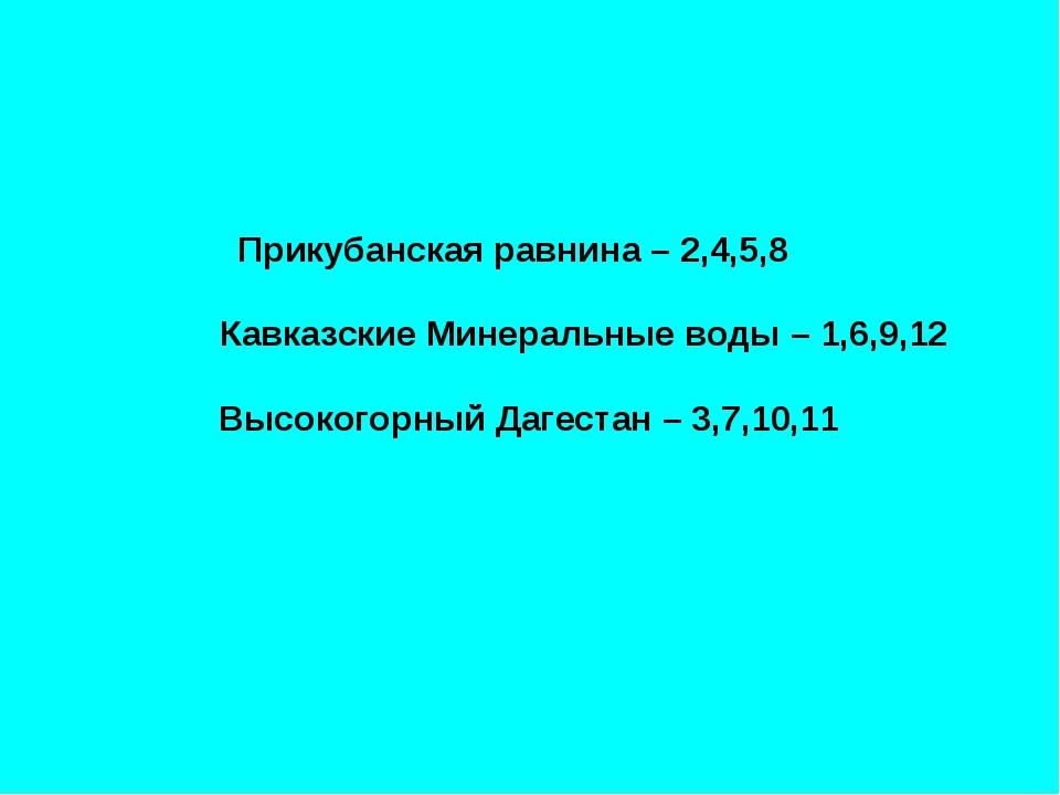 Прикубанская равнина – 2,4,5,8 Кавказские Минеральные воды – 1,6,9,12 Высоко...