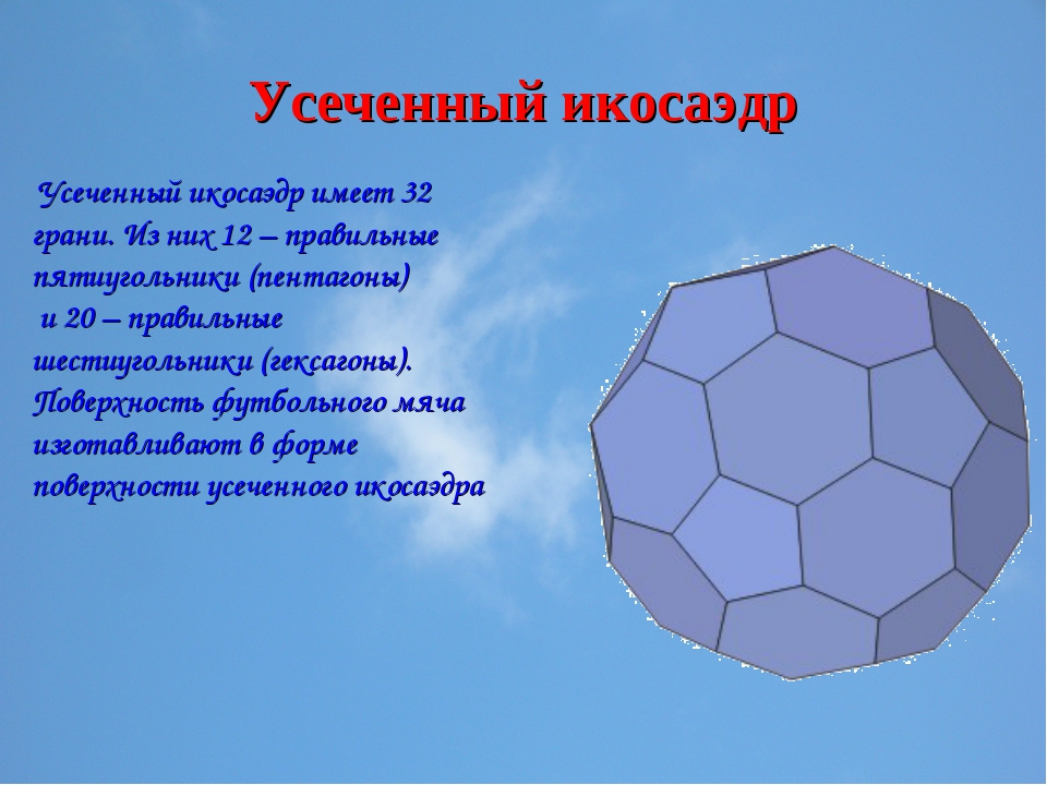 Усеченный икосаэдр Усеченный икосаэдр имеет 32 грани. Из них 12 – правильные...