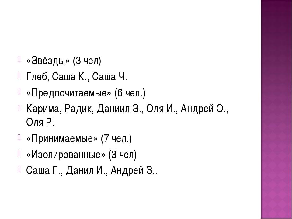 «Звёзды» (3 чел) Глеб, Саша К., Саша Ч. «Предпочитаемые» (6 чел.) Карима, Рад...