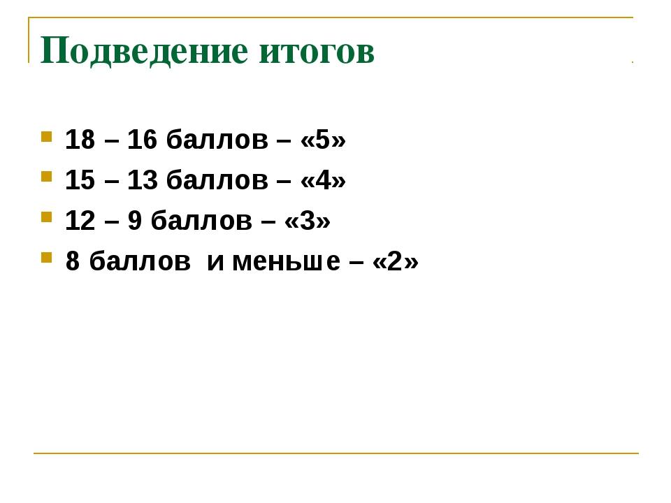Подведение итогов 18 – 16 баллов – «5» 15 – 13 баллов – «4» 12 – 9 баллов – «...