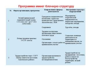 Программа имеет блочную структуру № Форма организации, программы Направления