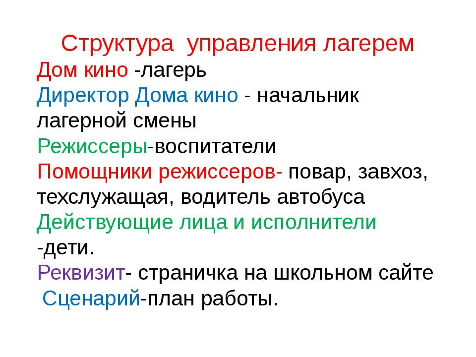 Структура управления лагерем Дом кино -лагерь Директор Дома кино - начальник...