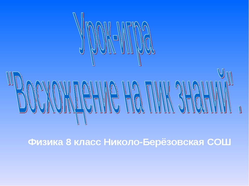 Физика 8 класс Николо-Берёзовская СОШ