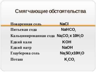 Смягчающие обстоятельства Поваренная соль NaCl Питьевая сода NaHCO3 Кальцинир