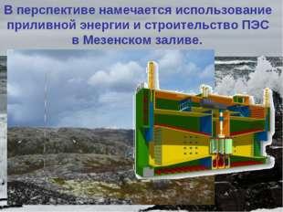 Вперспективе намечается использование приливной энергии и строительство ПЭС