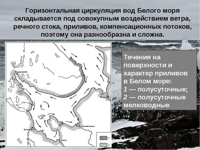 Горизонтальная циркуляция вод Белого моря складывается под совокупным воздейс...