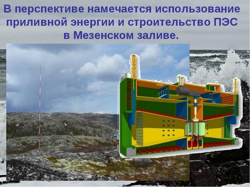Вперспективе намечается использование приливной энергии и строительство ПЭС...