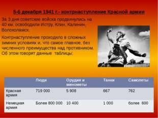 5-6 декабря 1941 г.- контрнаступление Красной армии За 3 дня советские войска