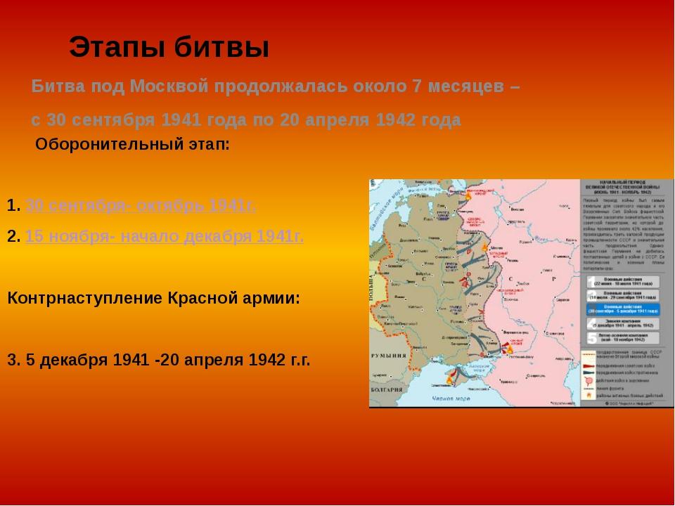 Этапы битвы Оборонительный этап: 1. 30 сентября- октябрь 1941г. 2. 15 ноября-...