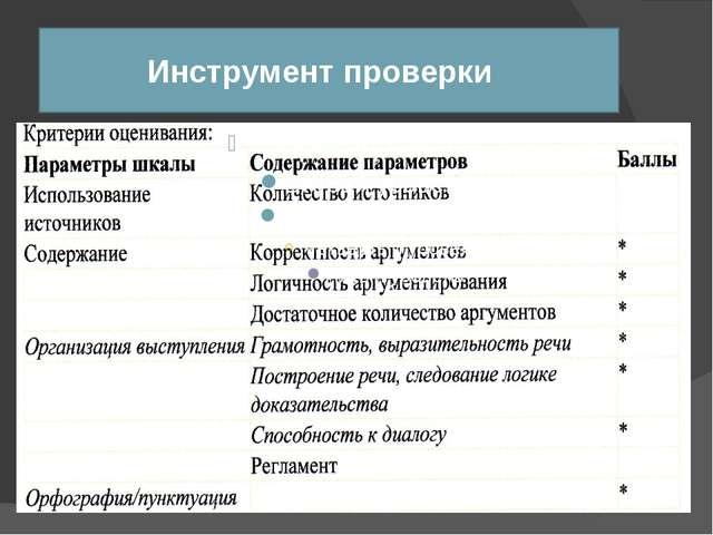 Инструмент проверки Ключ Модельный ответ Аналитическая шкала Бланк наблюдени...