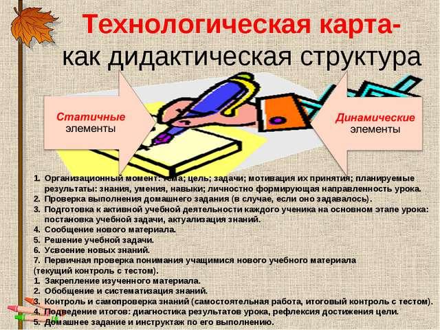 Технологическая карта- как дидактическая структура Организационный момент: те...