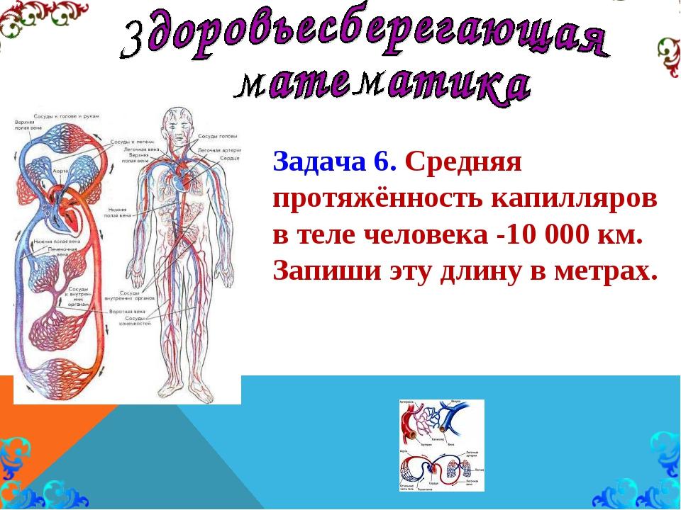 Задача 6. Средняя протяжённость капилляров в теле человека -10 000 км. Запиши...