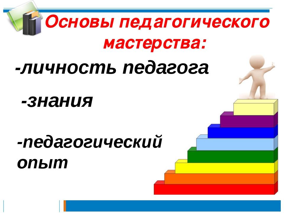 Основы педагогического мастерства: -знания -личность педагога -педагогический...