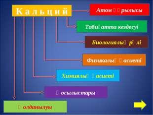 К а л ь ц и й Табиғатта кездесуі Биологиялық рөлі Атом құрылысы Қосылыстары Х