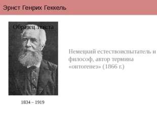 Эрнст Генрих Геккель Немецкий естествоиспытатель и философ, автор термина «он