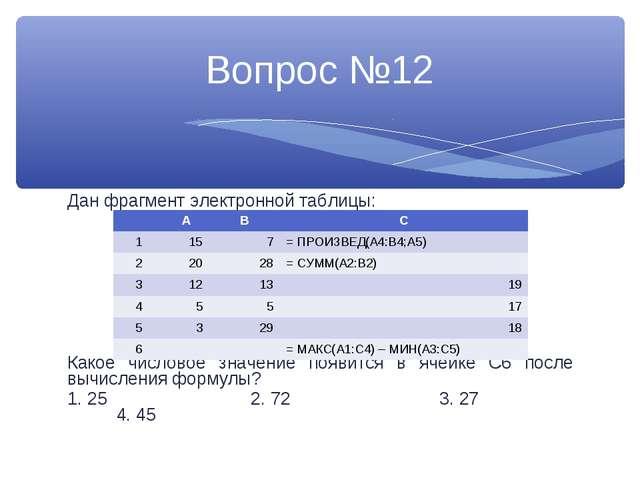 Дан фрагмент электронной таблицы: Какое числовое значение появится в ячейке С...
