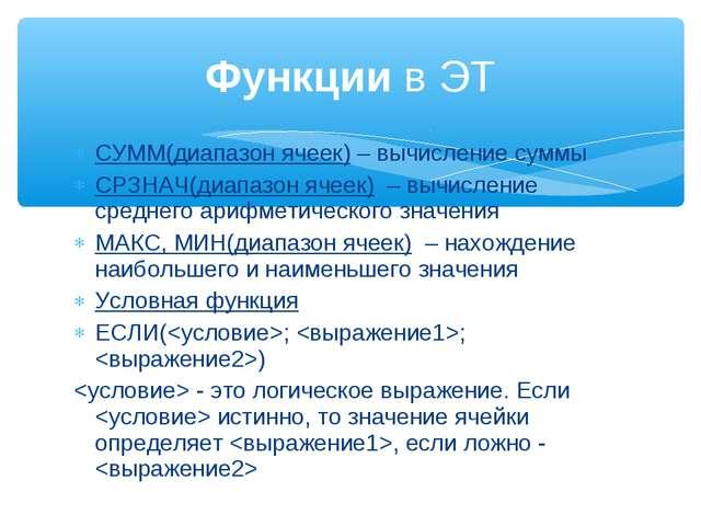 СУММ(диапазон ячеек)– вычисление суммы СРЗНАЧ(диапазон ячеек)– вычисление...