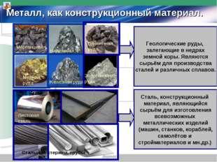 Металл, как конструкционный материал. Геологические руды, залегающие в недрах