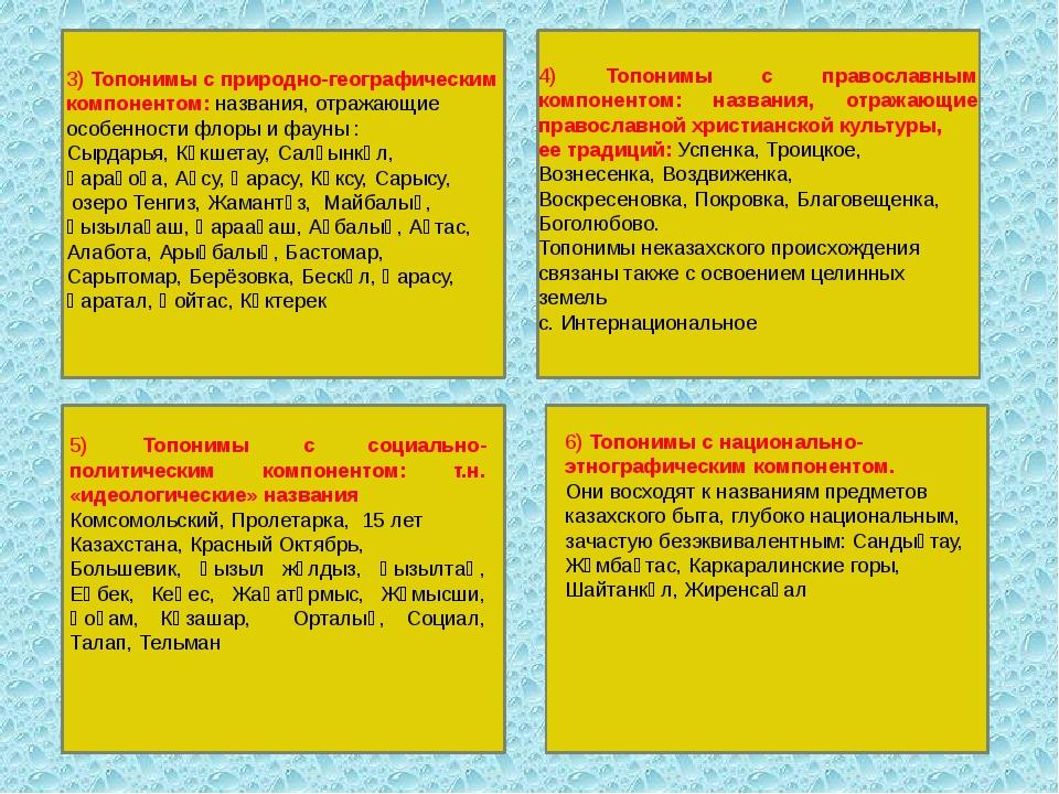 3) Топонимы с природно-географическим компонентом: названия, отражающие особ...
