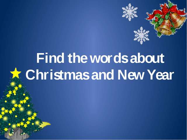 Find the words about Christmas and New Year