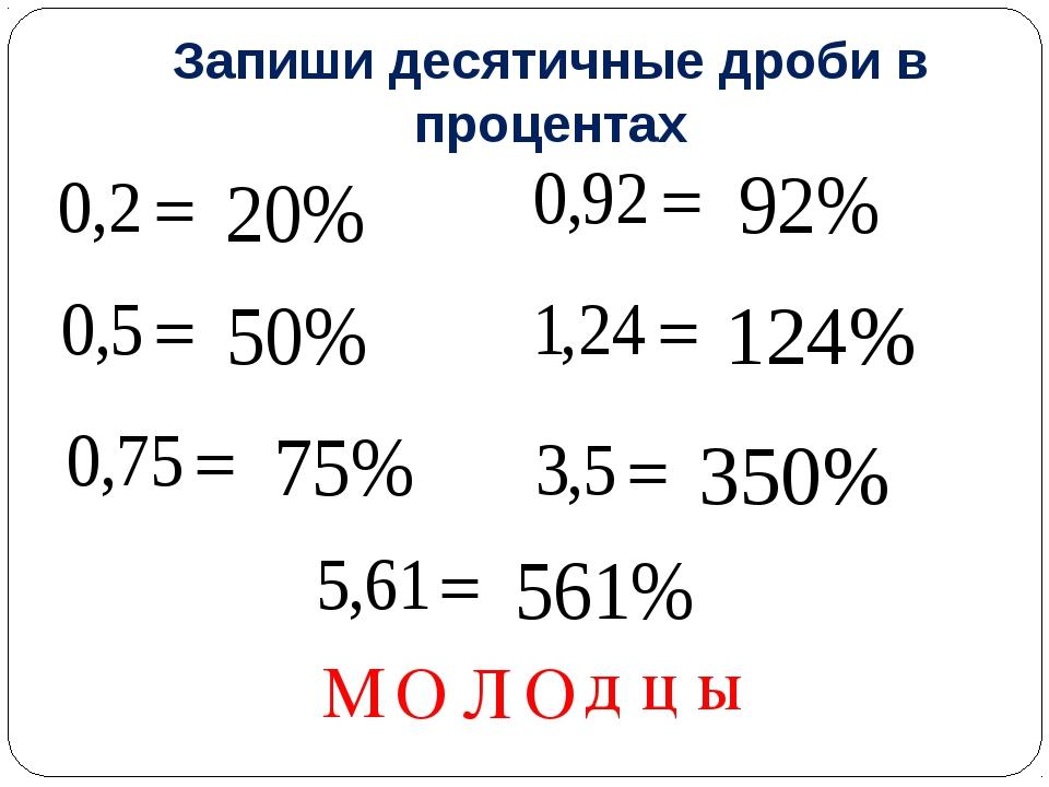 Запиши десятичные дроби в процентах М О Л О д ц ы